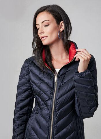 Anne Klein - Short Down Quilt Coat, Blue,  packable coat, quilt coat, down coat, coat, light coat, transition coat, chevron quilt, hood, pockets, zipper, fall 2019, winter 2019