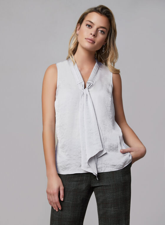 Sleeveless Satin Blouse, Grey