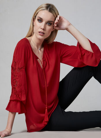 Joseph Ribkoff - Appliqué Blouse, Red, hi-res