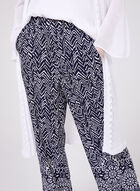 Abstract Print Pull-On Wide Leg Pants, Blue, hi-res