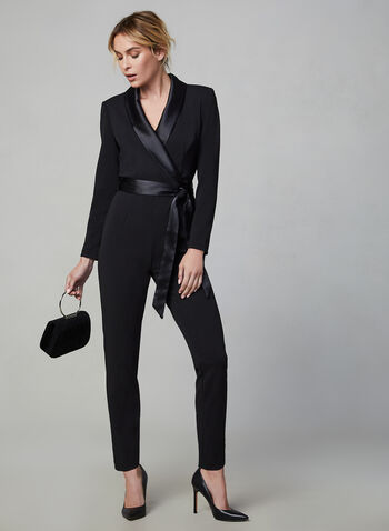 Adrianna Papell - Surplice Neckline Jumpsuit, Black, hi-res,  fall winter 2019, tuxedo, satin trim, straight leg pants, ribbon belt, long sleeves