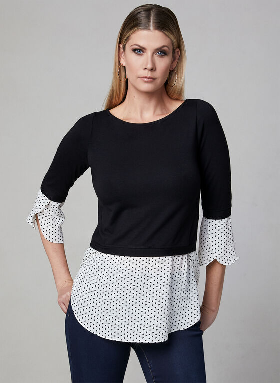 Polka Dot Print Fooler Blouse, Black