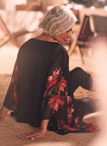 Joseph Ribkoff - Floral Print Kimono Blouse, Black,  blouse, kimono, floral, chiffon, ribkoff, lyman, spring summer 2021