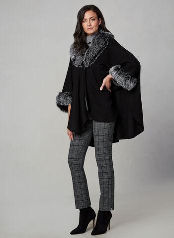 Étole en fausse fourrure, Noir, hi-res,  ruana, faux fur, poncho, fall 2019, winter 2019