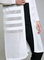 Cardigan long ouvert à rayures, Blanc cassé, hi-res