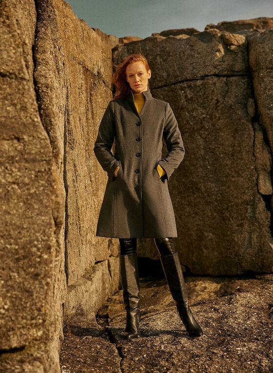 Manteau mi-long en laine mélangée, Gris