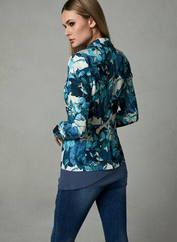 Blazer col châle à motif feuilles, Bleu, hi-res