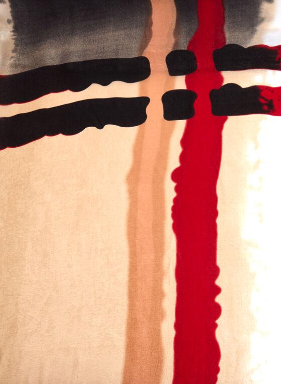 Echarpe pashmina à motif coup de pinceau, Noir, hi-res