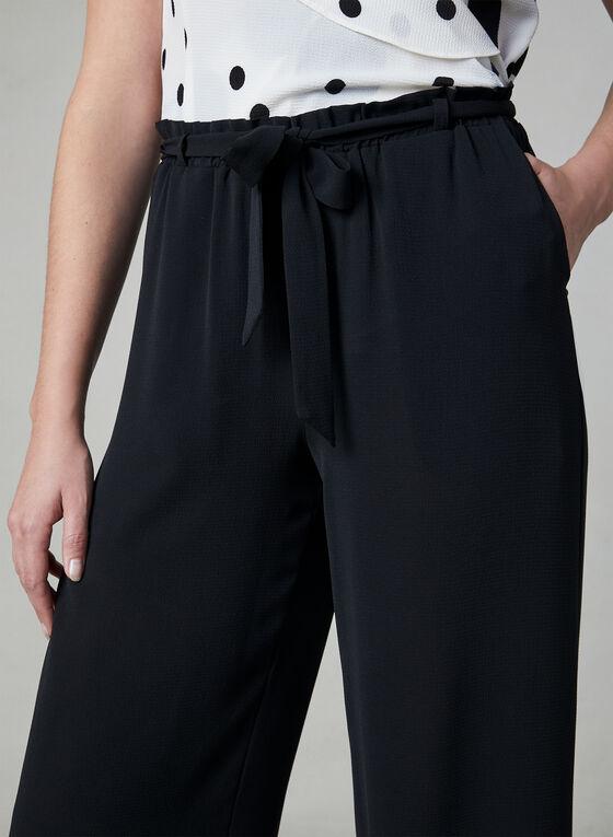 Pantalon jambe large noué à la taille, Noir, hi-res
