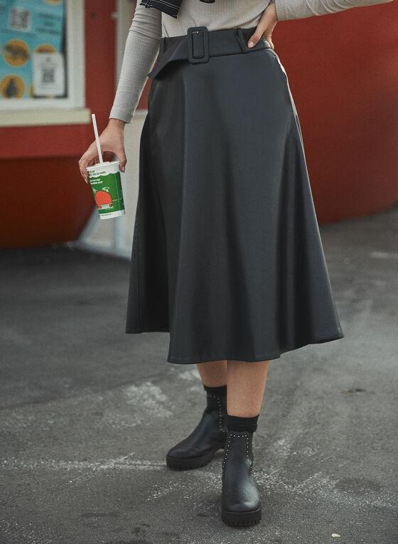 Jupe longue à ceinture en cuir végane, Noir