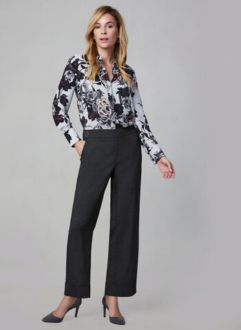 Wide Leg Pull-On Pants, Black,  pull-on, fall 2019, winter 2019, wide leg, buttons