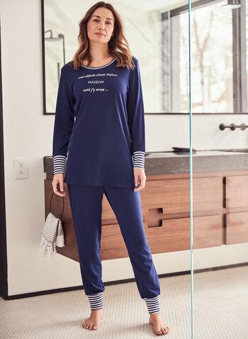 Striped Trim Pyjama Set, Blue,  fall winter 2020, pyjama, set, pants, t-shirt, sleepwear
