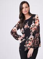 Floral Print Puffed Cuff Blouse, Black, hi-res