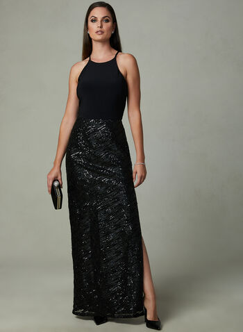 Marina - Sequin Halter Dress, Black, hi-res