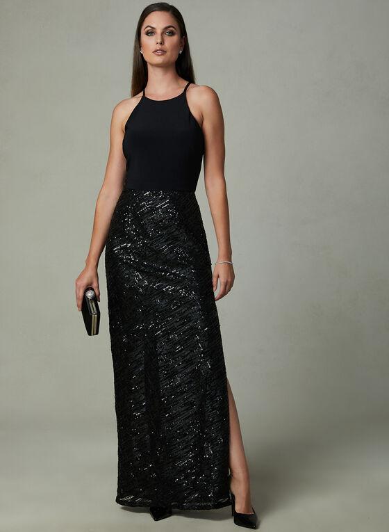Marina - Robe à col ras-du-cou et jupe en maille, Noir, hi-res