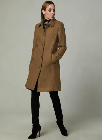 Novelti - Manteau en laine mélangée à boutons, Brun, hi-res