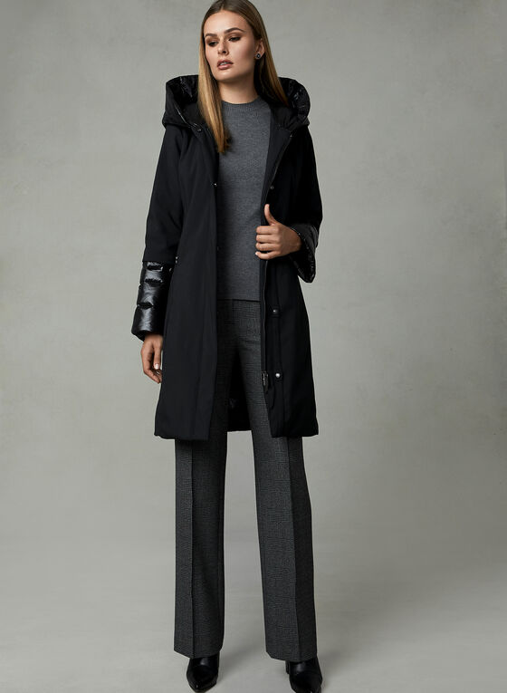 Quilted Detail Down Coat, Black, hi-res