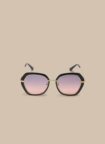 Hexagonal Sunglasses, Black,  sunglasses, plastic sunglasses, spring 2020, summer 2020