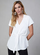 Layered Crepe Top, Off White, hi-res