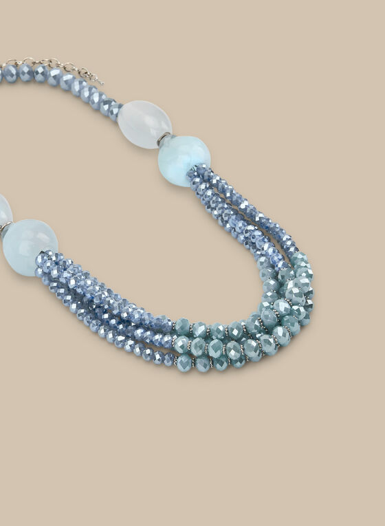 Multi-Row Beaded Stone Necklace, Blue