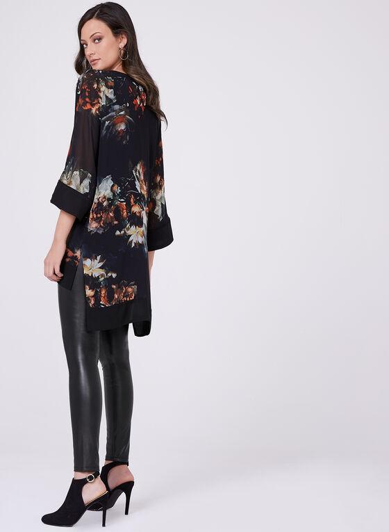Blouse fleurie asymétrique à manches kimono, Noir, hi-res
