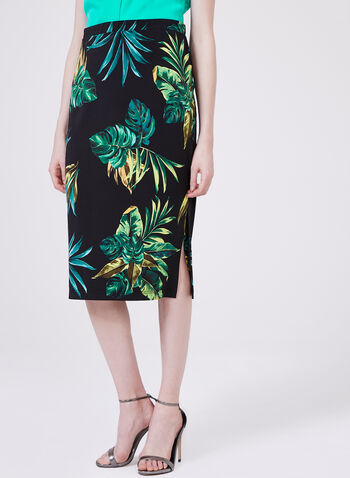 Conrad C – Palm Leaf Print Skirt, Blue, hi-res