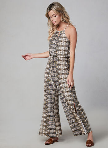 Aztec Print Jumpsuit, Yellow, hi-res