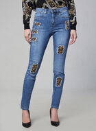 Joseph Ribkoff - Jeans à détails léopard et cristaux, Bleu
