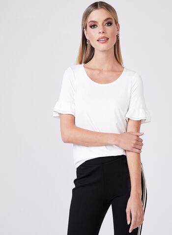 Ruffle Sleeve T-Shirt, Off White, hi-res