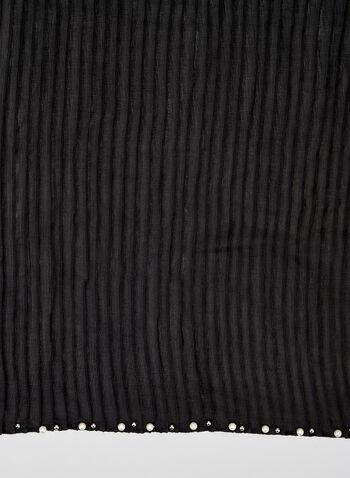 Foulard léger plissé à détails perles, Noir, hi-res