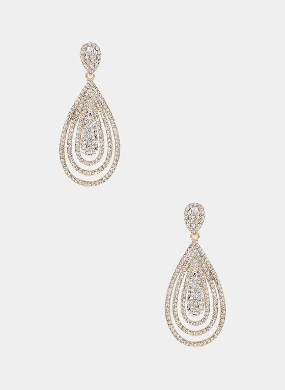 Teardrop Dangle Earrings, Gold, hi-res