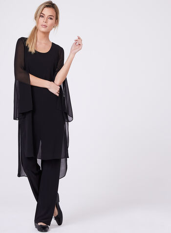 Compli K - Double Layer Chiffon Top , Black, hi-res
