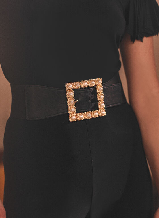 Pearl Detail Elastic Belt, Black