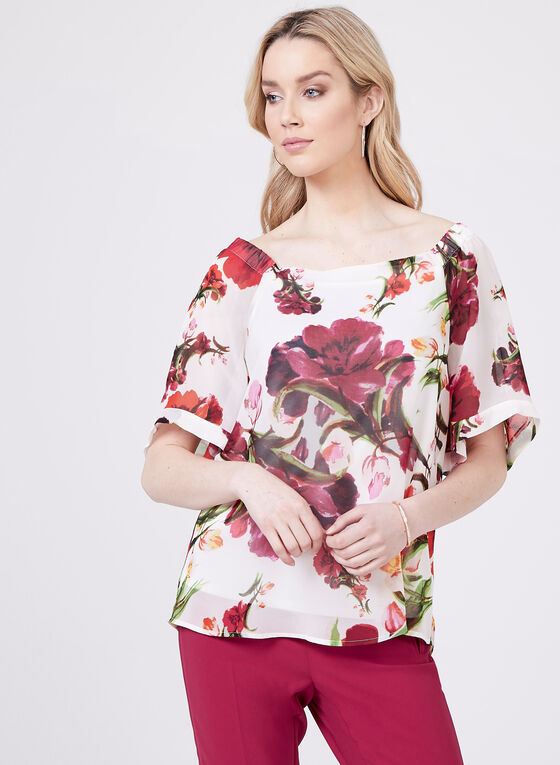 Floral Print Off The Shoulder Blouse, Black, hi-res