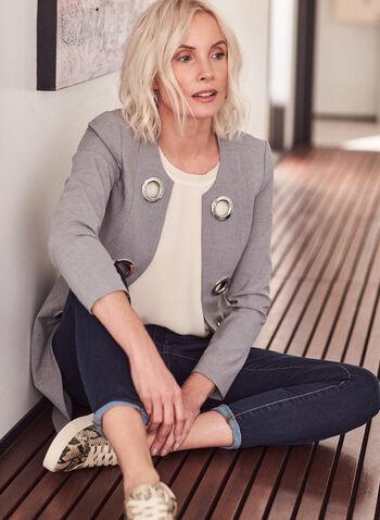 Eyelet Detail Redingote Jacket, Grey,  jacket, redingote, shoulder pads, eyelets, spring summer 2020