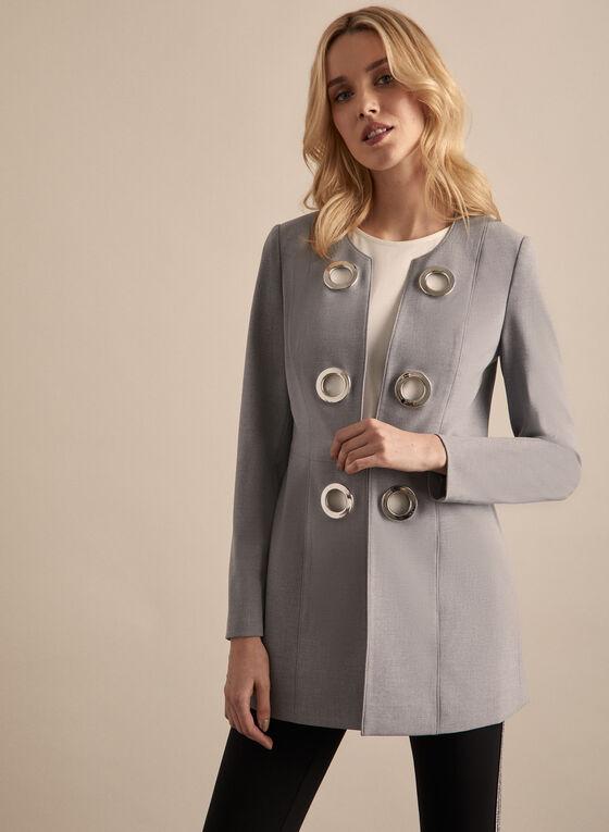 Eyelet Detail Redingote Jacket, Grey
