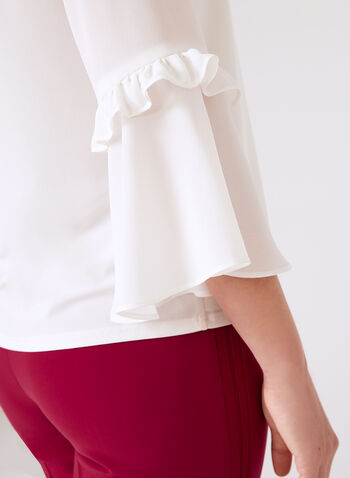 Ruffled Bell Sleeve Blouse, Off White, hi-res