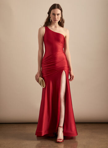Satin One-Shoulder Mermaid Gown, Red,  prom dress, satin, one-shoulder, mermaid, gown, high slit, spring summer 2020