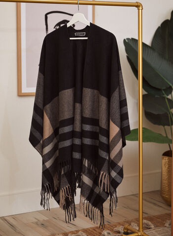 Plaid Fringed Shawl, Black,  fall winter 2021, scarf, scarves, ruana, shawl, wrap, striped, stripes, plaid, fringe, shawl, stole