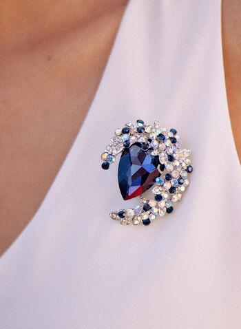 Broche à mélange de pierres facettées, Bleu,  accessoire, bijou, broche, pierre, goutte d'eau, mélange, croissant, pierres facettées, couleurs multiples, automne 2021