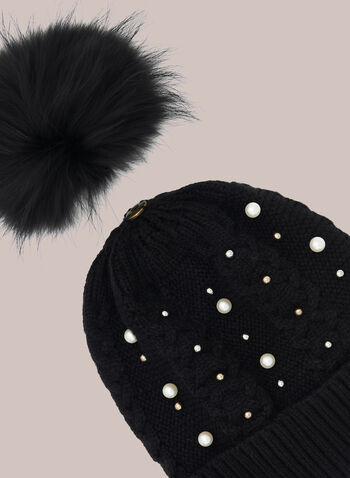 Removable Pom Pom Beaded Hat, Black,  Fall winter 2020, beanie, tuque, pompom, bead, knit, removable, pom pom