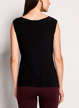 Asymmetric Drape Side Blouse, Black, hi-res