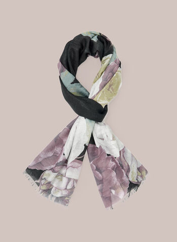 Floral Print Lightweight Scarf, Purple,  scarf, lightweight, floral, fall winter 2020