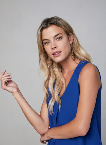 Sleeveless Chiffon Top, Blue,  fall 2019, winter 2019, chiffon, sleeveless, layered