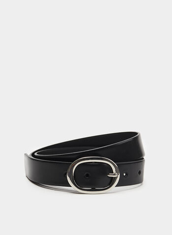 Smooth Metal Buckle Belt, Black, hi-res