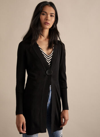 Cardigan long à un bouton, Noir,  cardigan, long, manches longues, bouton, tricot, printemps été 2020