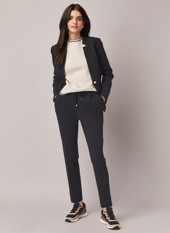 Slim Leg Drawstring Pants, Black