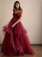 Terani Couture - V-Neck Glitter Ball Gown, Red