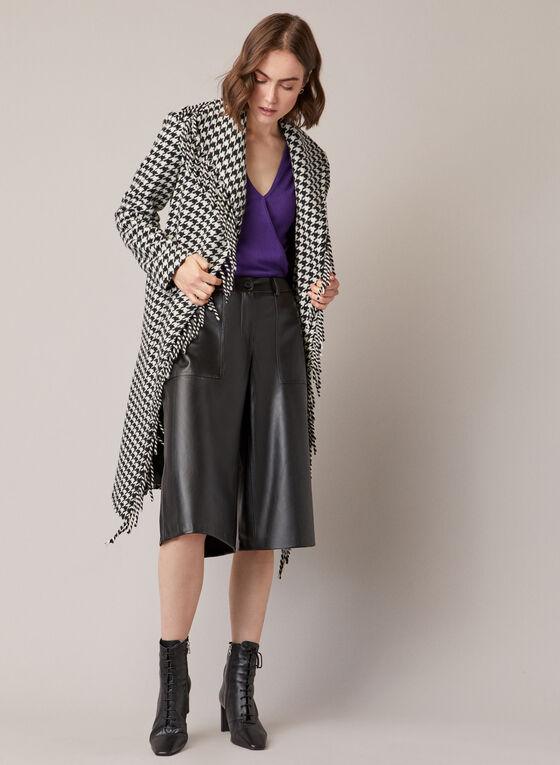 Jupe-culotte en cuir végane, Noir