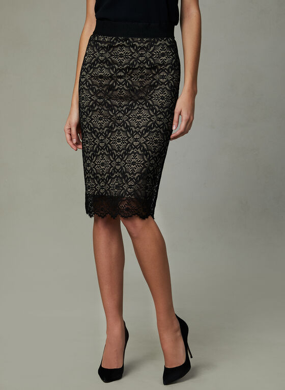 Lace Pencil Skirt, Black, hi-res